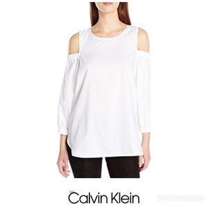 Calvin Klein White Cold Shoulder 3/5 Sleeve